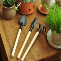 Wholesale 1Set Mini Garden Tools Small Shovel Rake Spade Wood Handle Metal Head Kids Tools Home Gardener Accessories