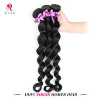 Wholesale 7A Brazilian Loose Wave Jet Black Virgin Remy Hair Bundles Water Weaver B Brazilian Loose Hair Double Weft