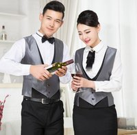 bartender wear - black vest uniforms sliver vests suit bartender work clothing club wear for waiter and waitress