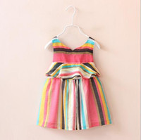 baby smocked dresses - 2016 cheap summer new Girls baby smocked dresses stripe dress girls rainbow summer clothes