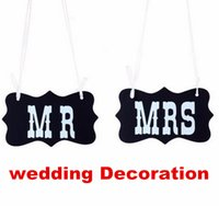 Wholesale 100set DIY Black Mr Mrs Paper Board Sign Photo Booth Props vintage wedding Decoration party favors with Ribbon