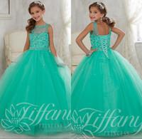 2016 Jade menta niñas desfile de vestidos para los adolescentes ilusión de tul con cuentas de cuello de lentejuelas para niños muchachas de flor de los vestidos de la princesa cumpleaños