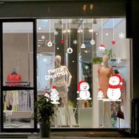 american christmas store - Christmas Ball Bell Tree Pendant Wall Stickers Store Window Glass Festival Decor Wallpaper Poster Snowman Christmas Tree Snowflake Wall Art