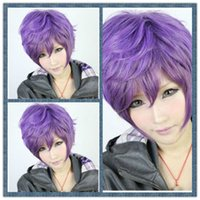 Wholesale Purple Mixed Women Fashion Short Straight Hair Girl Full Wigs Cosplay Party Wig