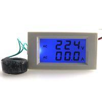 Оптово-Бесплатная доставка Синий ЖК-цифровой вольтметр амперметр переменного тока 80.0-300V Напряжение Вольт Ток ампер метр панели AC 0-100A