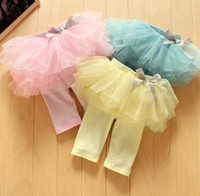 Wholesale 3 color Baby Girl s Summer TUTU Skirt Short Pants Kids Cute Bow Gauze Cake Middle Leggings Pant Blue Pink Yellow children candy leggings