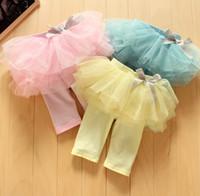 al por mayor amarillo falda linda-3 color de los pantalones del verano del bebé del TUTÚ la falda corta de la gasa para niños del arco lindo de la torta de las polainas de las bragas Medio Azul Rosa Amarillo polainas caramelo de los niños
