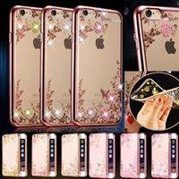 Роскошная рамка диаманта Bling гальванизированная мягкая аргументы за TPU для iPhone 5S 6 6S 7 Плюс Галактика S6 S7 Край j5 Секретный цветок цветка сада ясности крышки