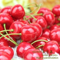 artificial plastic fruit - New Arrival Artificial Fruits Simulation Cherry Cherries Fake Fruit and Vegetables Home Decoration Shoot Props red black color