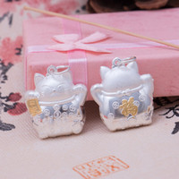 Wholesale S925 silver jewelry accessories D hard silver blessing Lucky Cat Pendant Necklace Pendant DIY EH130 peace
