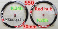 Wholesale Carbon Bike Wheel Sram Hub - Sram-S50 50mm carbon alloy wheels with Red logo Made in China road bicycle wheelset 3K 20.5mm width A271 hub free shipping z01