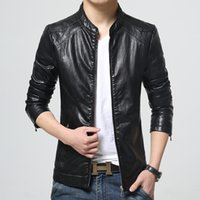 Wholesale Fall men s fashion leisure business leather high grade pure color jacket brand motorcycle leather jackets mens leather jackets