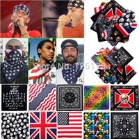 Wholesale 1PC New Unisex Cotton Kerchief Flag Skull Prints Paisley Bandanas Double Sided Head Wrap Scarf Wristband