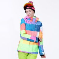 Wholesale Gsou winter snow women from tax ski suit snowboard white letters breathable waterproof windproof jacket