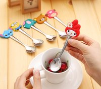 Wholesale Cartoon spoon stainless steel screative silicone children s spoon coffee spoon tableware set KT cat Minions Despicable Me coffee tool