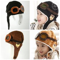 Cheap Unisex Baby Pilot Aviator Cap Pilot Earflap Cap Best Winter Crochet Hats Airforce Beanie Windproof Warm Hats