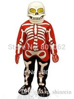 actual human - ohlees actual picture Bloody Bones human skeleton cartoon Mascot costume for Halloween party activity Fancy christmas adult size