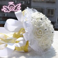 Wholesale 2016 Cream Elegant Handmade Beading Artifical Flower Wedding Decoration of Wedding Bouquet Wedding Flowers Bridal Bouquets