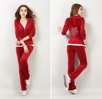 Wholesale Gold velvet sport suit winter sport long sleeved sweater suit female casual sportswear