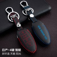 auto nissan sunny - For Nissan New Teana Sunny Sylphy Hand Sewing Genuine leather Remote Control Car Key chain Car key cover Buttons Smart Auto Accessories