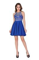 belle cocktail dresses - Chic Belle Women Chiffon Backless Short Beaded Prom Dress Homecoming Dress