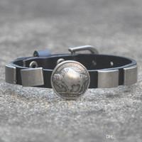 Cheap Jewelry Fashion bracelets & bangles Indian buffalo Five Cent Metal Studs Genuine Leather Bracelet Bracelets Free Shippi