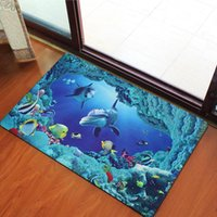 Wholesale waterproof carpet protector mat D marine animal non woven printing floor mat hallway dust proof mat anti skid floor mat