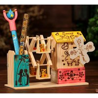 best wooden home decorations - Colorful Wooden Windmill Pencil Holder bureau accessoires with Music Box Best Gift Home Decoration