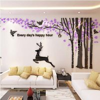 acrylic paintings trees - Large forest deer D Acrylic crystal wall stickers large tree sticker for living room TV sofa backdrop decorative wall painting