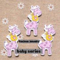 wood craft - x25mm Cute Blue Pink cartoon giraffe Pattern Wood buttons Fit Sewing Scrapbooking Crafts QC025 M65248