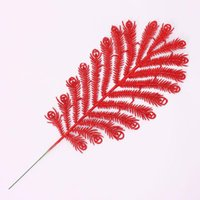 artificial christmas wreath - 3PCS Christmas Tree Ornaments Plastic Leaf Artificial Christmas Flowers Decoration For Garland Wreath Home Christmas Decoration