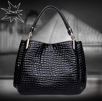 alligator leather goods - Good quality women lady girl medium black Tote alligator handbag faux leather Handbags