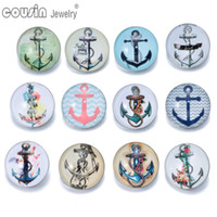 anchor buttons - 12pcs Mixed Colors Anchor mm snap button Jewelry Faceted glass Snap Fit snap Bracelet Jewelry KZ0197
