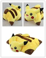 animal cushion pattern - 45 cm Poke figures PIKACHU D foldable cushion Soft Stuffed Animal doll pillow Cute Cartoon Pocket monster Cushion Xmas gifts