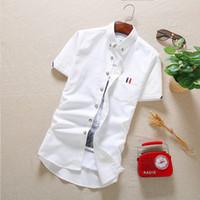 beige tiles - Men s short sleeve shirt shirt Korean tile Casual Shirt Youth Male tide ZD