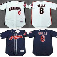 belle men - Hot sale ALBERT BELLE Cleveland Indians Majestic Throwback Home Baseball Jersey stitched size S XL