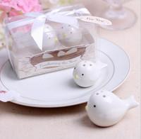 Wholesale 2Pcs Set White Love Birds Ceramic Salt Shaker Pepper Shakers Set Personalised Wedding Favors event Party Decoration supplies