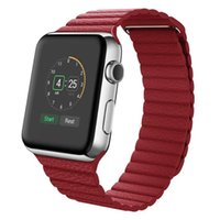 Wholesale Genuine leather loop watchband for apple watch leather loop band With magnetic closure for iwatch milanese loop