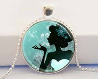 american silhouette - Make a Wish Necklace Silhouette of Woman Turquoise and Black Fantasy Art Pendant Necklace