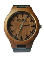 wood watches wholesale - Mooseng Men s Walnut Wood Watch With Blue Hand Line Black Genuine Leather Wooden Watches