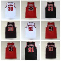 badminton shorts - Men s Throwback Scottie Pippen Jerseys Retro Dennis Rodman Jersey Embroidered Logos Breathable White Red Black