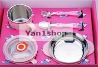 Wholesale 2016 Kitty Dinnerware Set Non magnetic Stainless Steel Tank Plastic Shell For Children s Piece Dinnerware Set
