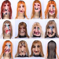 Wholesale 2016 Halloween Horror ghost Mask Halloween props with headgear ugly ghost Mask Masquerade