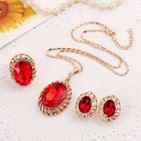 ancient wedding rings - Fashion jewelry sets necklace earrings ring sets red bright rhinestone glass exquisite ancient gold plated accessories lady gift