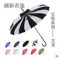 bianco e nero - pz lotto Creative Design A Righe Bianco E Nero Golf Ombrello manico lungo Etero Pagoda Ombrello