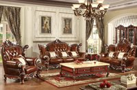 Wholesale Classical Style Living Room Furniture Genuine Leather Sofa Home Furniture Double faced Carving Soildwood Comfortable Lobby Furniture