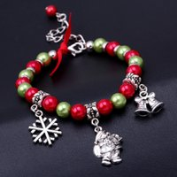 best snowflakes - European and American new bead bracelets popular santa snowflake bracelets alloy pendant beads bracelets best christmas gifts