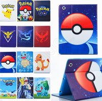 Wholesale Poke Go Pikachu Tablet PC Cases Designs Elf Ball PU Leather Stand Bags Pouch Pocket Monster Cases For Ipad QQA399