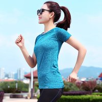 Wholesale Women Sport T shirt Fitness Quick Dry Ice Unlined Upper Garment Bodybuilding Jacket Outdoors Run Yoga Short Sleeve Gym Clothes