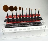 Wholesale DHL Makeup Toothbrush Set Holder Oval Makeup Brush Holder Hole Drying Rack Organizer Cosmetic Shelf Tool for Toothbrush Set